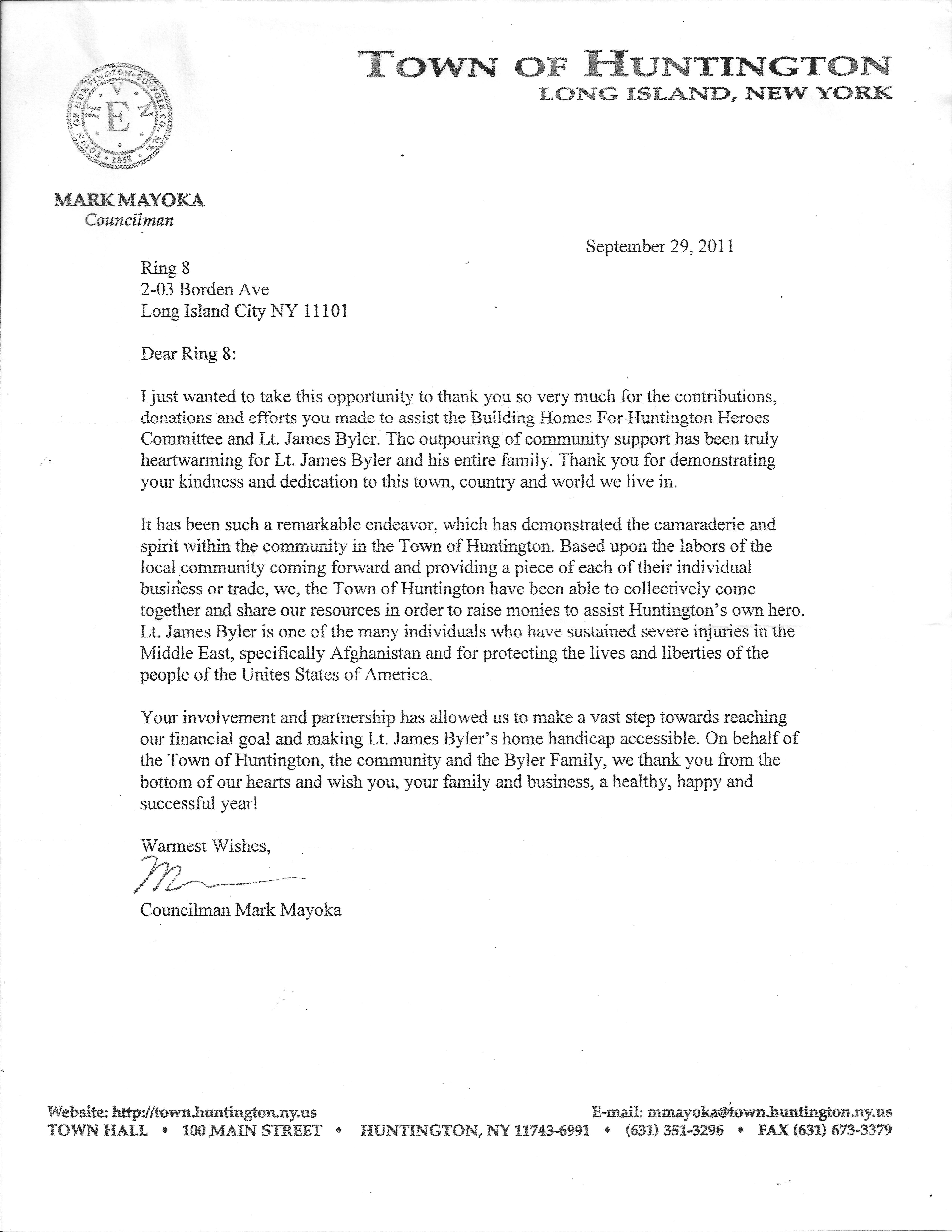 Blog archive thank you letter from the town of huntington thank you letter from the town of huntington posted under uncategorized altavistaventures Image collections