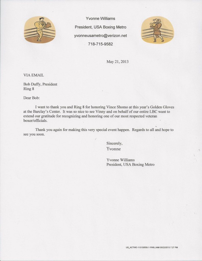 Yvonne Williams Letter to Ring 8