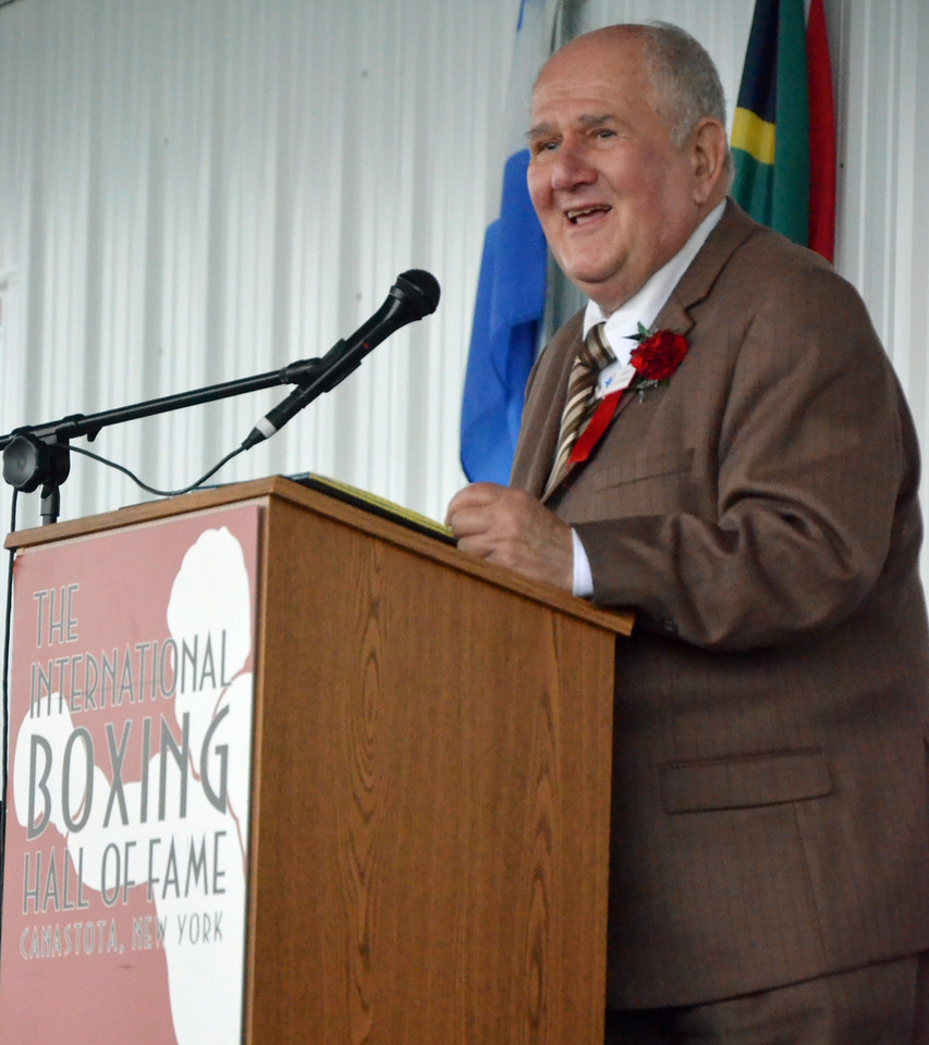 KYLE MENNIG - ONEIDA DAILY DISPATCH International Boxing Hall of Fame Class of 2016 inductee Harold Lederman gives a speech at the induction ceremony in Canastota on Sunday, June 12, 2016.